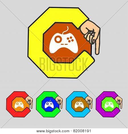 Joystick Sign Icon. Video Game Symbol. Set Colourful Buttons. Vector