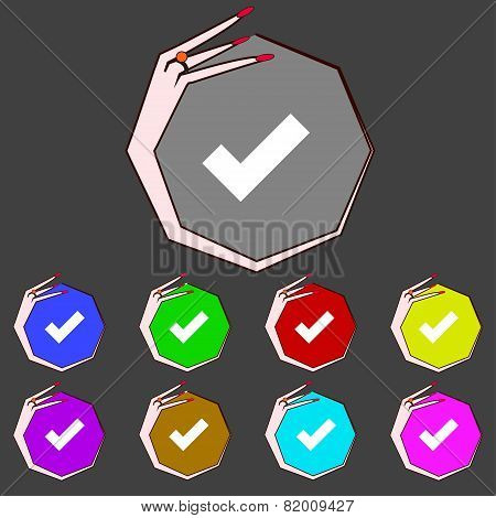 Check Mark Sign Icon. Checkbox Button. Set Colourful Buttons. Vector