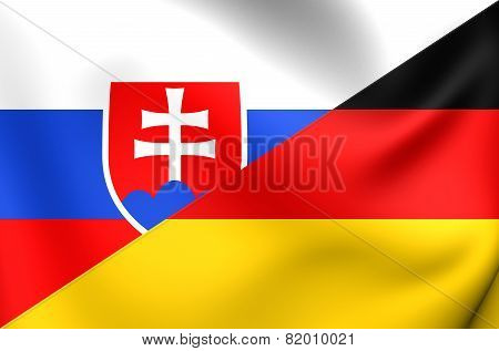 Combined Flag Of Slovakia And Germany