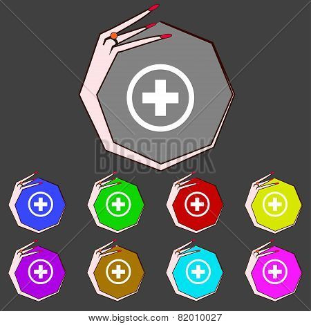 Plus Sign Icon. Positive Symbol. Zoom In. Set Colourful Buttons Vector