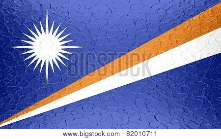 Marshall Islands flag on metallic metal texture