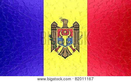 Moldova flag on metallic metal texture