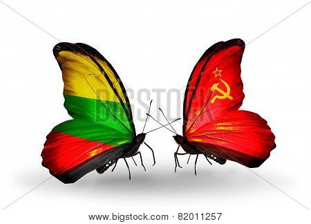 Two Butterflies With Flags On Wings As Symbol Of Relations Lithuania And Soviet Union