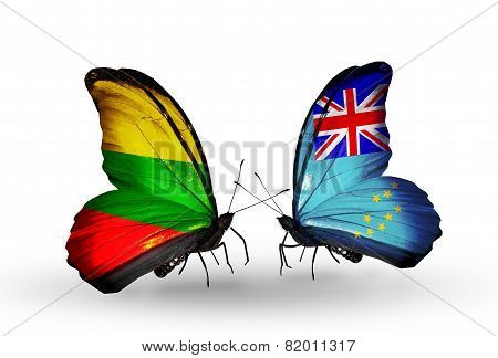 Two Butterflies With Flags On Wings As Symbol Of Relations Lithuania And Tuvalu