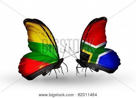 Two Butterflies With Flags On Wings As Symbol Of Relations Lithuania And South Africa