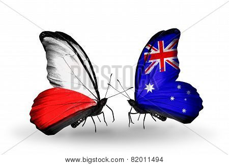 Two Butterflies With Flags On Wings As Symbol Of Relations Poland And Australia