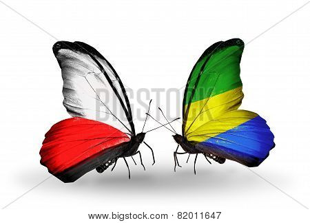 Two Butterflies With Flags On Wings As Symbol Of Relations Poland And Gabon