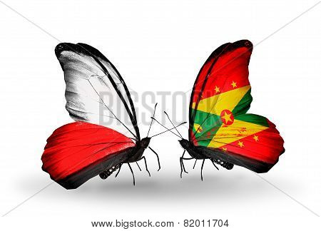 Two Butterflies With Flags On Wings As Symbol Of Relations Poland And Grenada