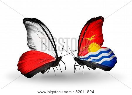 Two Butterflies With Flags On Wings As Symbol Of Relations Poland And Kiribati