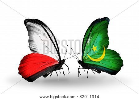 Two Butterflies With Flags On Wings As Symbol Of Relations Poland And Mauritania