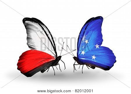 Two Butterflies With Flags On Wings As Symbol Of Relations Poland And Micronesia