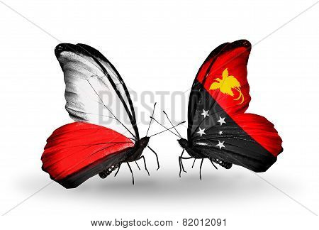 Two Butterflies With Flags On Wings As Symbol Of Relations Poland And Papua New Guinea
