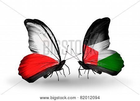 Two Butterflies With Flags On Wings As Symbol Of Relations Poland And Palestine