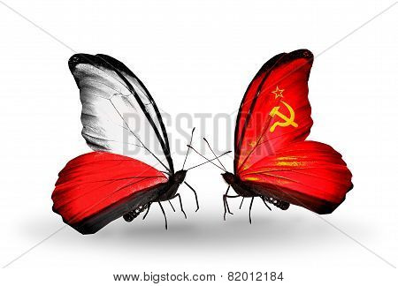 Two Butterflies With Flags On Wings As Symbol Of Relations Poland And Soviet Union