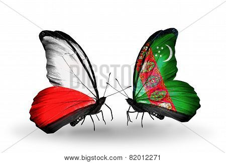 Two Butterflies With Flags On Wings As Symbol Of Relations Poland And Turkmenistan