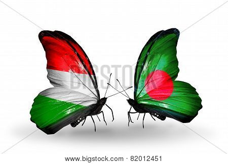 Two Butterflies With Flags On Wings As Symbol Of Relations Hungary And Bangladesh