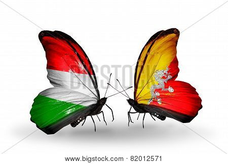 Two Butterflies With Flags On Wings As Symbol Of Relations Hungary And Bhutan