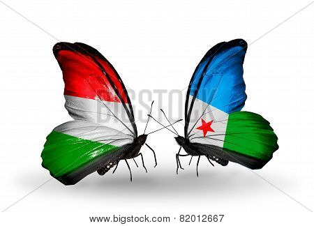 Two Butterflies With Flags On Wings As Symbol Of Relations Hungary And Djibouti
