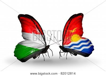 Two Butterflies With Flags On Wings As Symbol Of Relations Hungary And Kiribati