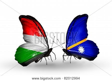 Two Butterflies With Flags On Wings As Symbol Of Relations Hungary And Nauru