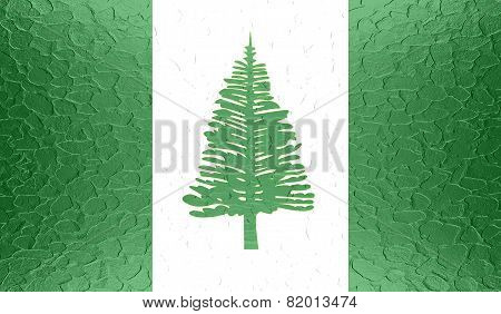 Norfolk Island flag on metallic metal texture