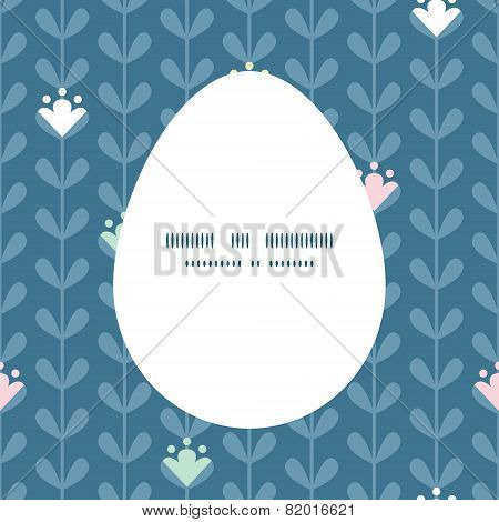 Vector blloming vines stripes Easter egg sillhouette frame card template