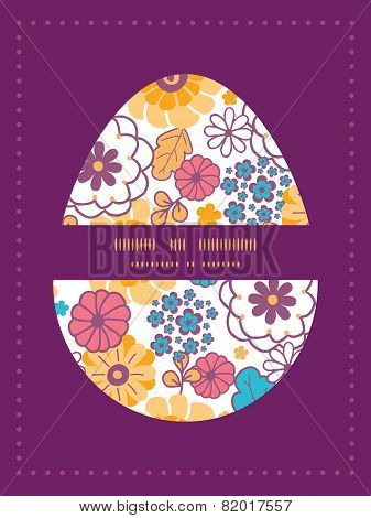 Vector colorful oriental flowers Easter egg sillhouette frame card template