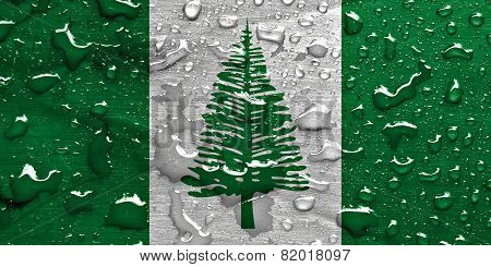 flag of Norfolk Island with rain drops