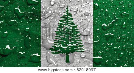 flag of Norfolk Island with rain drops