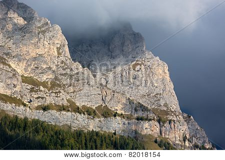 Rock face in Dolomites, Alps, Italy
