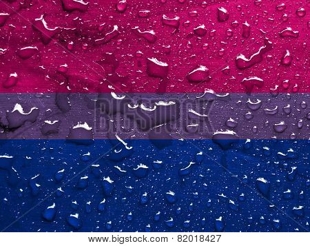 flag of Bisexual pride with rain drops