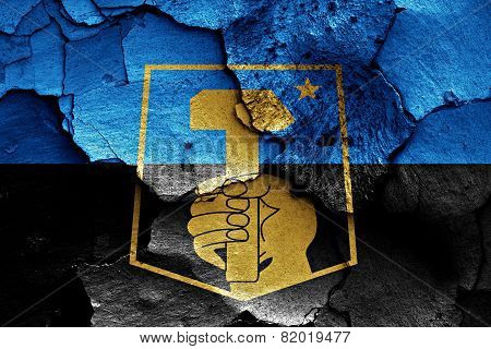 Flag Of Donetsk Painted On Cracked Wall