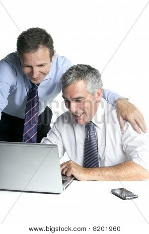 Happy Businessman Team On Computer Good Sales