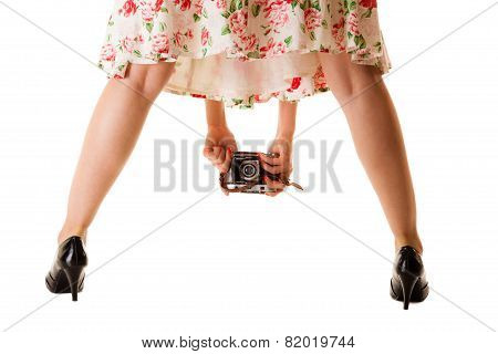 Girl Taking Picture Using Vintage Camera