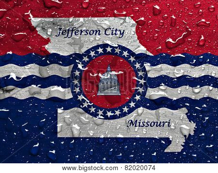 flag of Jefferson City with rain drops