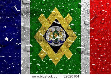flag of Johannesburg with rain drops