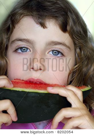 Closeup Little Girl Portrait Eating Watermelon Slice