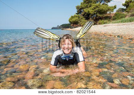 Happy Female Snorkeler