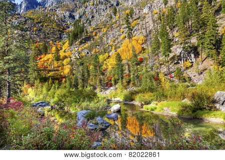 Fall Yellow Blue Green Colors Reflection Wenatchee River Valley Washington