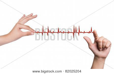 Hand Drawing Chart Electrocadiogram (ecg) Of Ratio Heartbeat On Virtual Screen Concept For Medical D