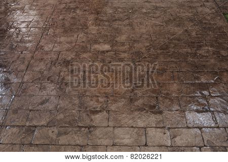 Black Stone Block Floor Of Pavement