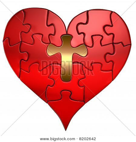 Heart And Cross Puzzle Orthographic Stock Photo & Stock Images
