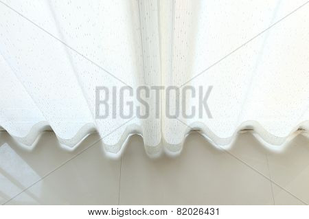 Top View White Curtain In The Room