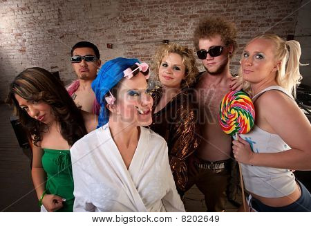 Eccentric Woman Hanging Out with Party Kids