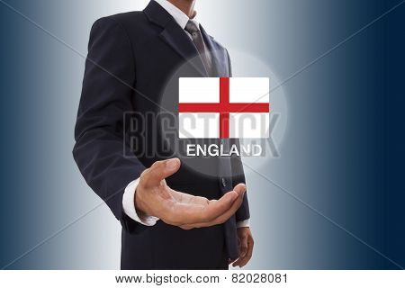Businessman hand showing England Flag