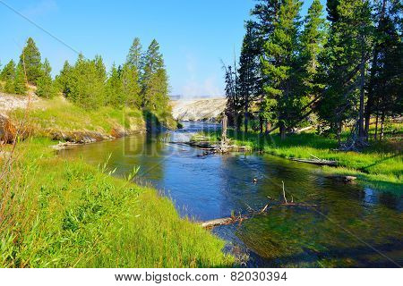 River In Upper Geyser Basin Of Yellowstone National Park, Wyoming