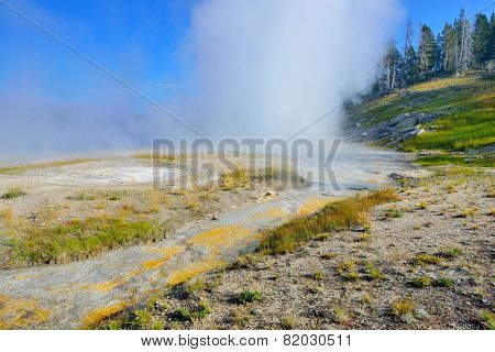 Erupting Grand Geyser In Upper Geyser Basin Of Yellowstone National Park, Wyoming