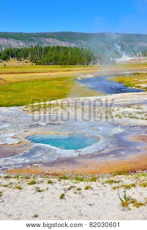 Depression Geyser In Upper Geyser Basin Of Yellowstone National Park, Wyoming