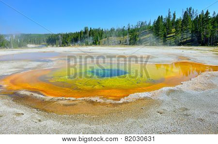 Colorful Steaming Geyser Pool In Upper Geyser Basin Of Yellowstone National Park, Wyoming