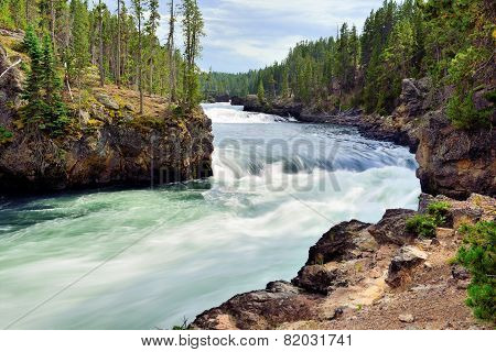 Whitewater Rapids In The North Rim Of The Canyon Of The Yellowstone In Wyoming During Summer